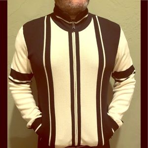 Dolce & Gabbana black and white zip up sweater. L